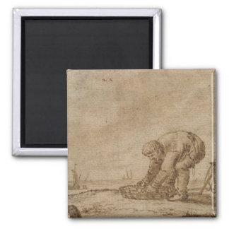 Fisherman on the Sea Shore, 1623 Square Magnet