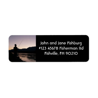 Fisherman Silhouette Fishing at Sundown Return Address Label