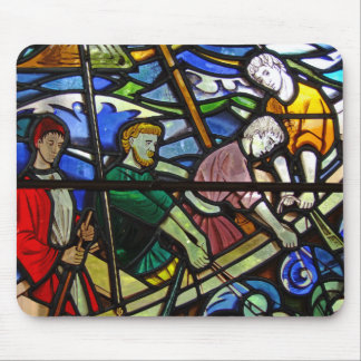 Fisherman Stained Glass Window Mousepad