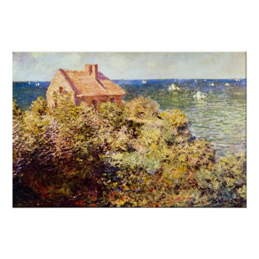 Fisherman 39 s cottage on a cliff by claude monet zazzle - The fishermans cottage ...