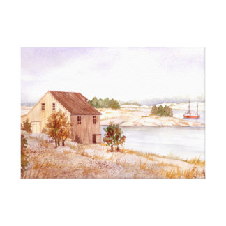 Fisherman's House Watercolor Canvas Print