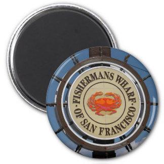 Fisherman's Wharf Sign 6 Cm Round Magnet
