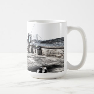 Fishermen And Cats Istanbul Art Coffee Mug