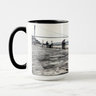 Fishermen And Cats Istanbul Art Mug