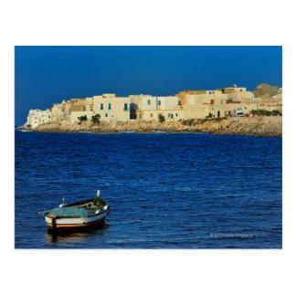 fishermen, boats along the peninsula of Mahdia,, Postcard