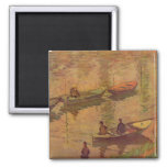 Fishermen fishing river Seine at Poissy by Monet Square Magnet