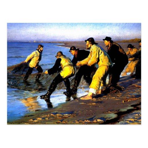 Fishermen Hauling the Net on Skagen's North Beach Post Card
