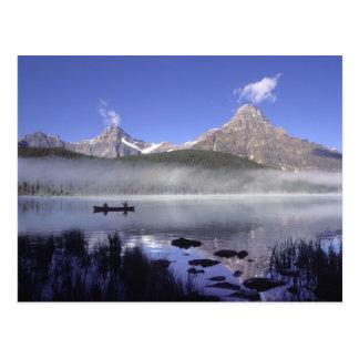Fishermen in canoe on Waterfowl Lake, Banff Postcard