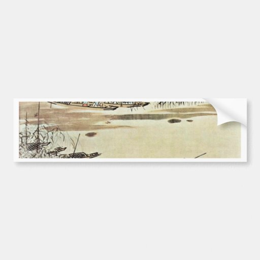 Fishermen On The River By Dai Jin (Best Quality) Bumper Stickers