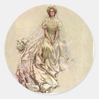 Fisher's 1902 American Girl ~ Beautiful Bride Round Sticker