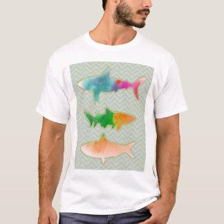 Fishes on zigzag chevron - Orange and Blue T-Shirt