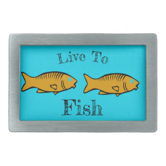 fishes swimming rectangular belt buckle