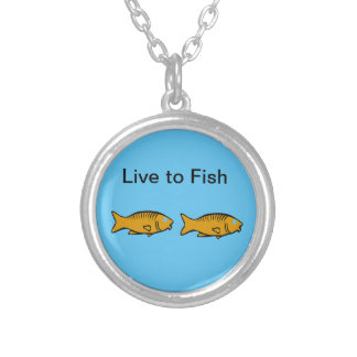 fishes swimming silver plated necklace