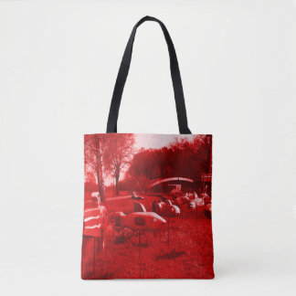 fishes swims on ground weird dream scene tote bag