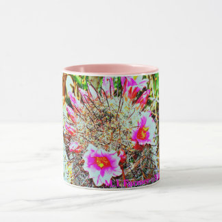 Fishhook Cactus with Pink Blooms Mug