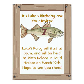 Fishing 7th Birthday Party Boys Invitation