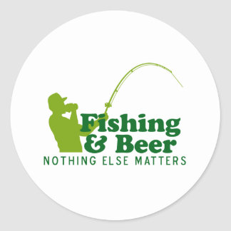 Fishing and Beer Round Sticker