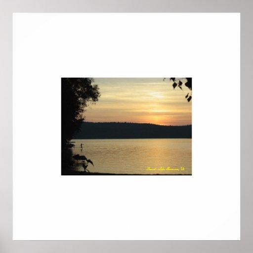 Fishing at Sunset, Lake Bomoseen, Vt. Print