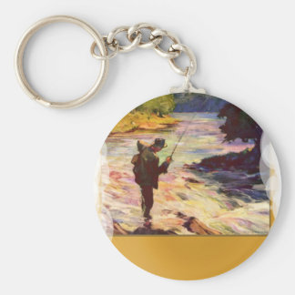Fishing at the bend in the river key chains