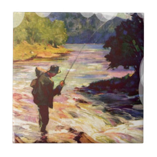 Fishing at the bend in the river small square tile