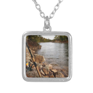 Fishing at the Lake Silver Plated Necklace