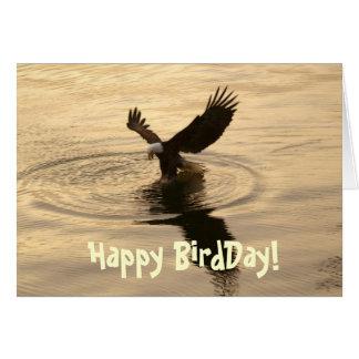 Fishing Bald Eagle at Dusk Funny Birthday Card