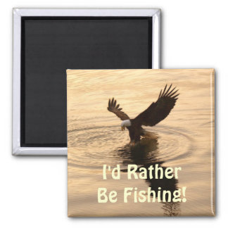 Fishing Bald Eagle at Dusk Wildlife Photo Pin Magnet