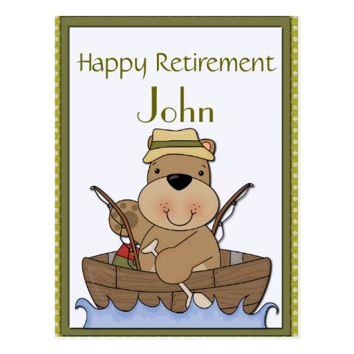 Fishing Bear Retirement Postcards