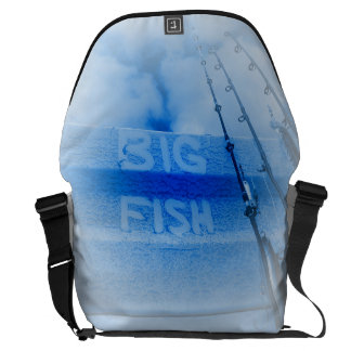 Fishing big fish blue and white rods dream of fish commuter bag