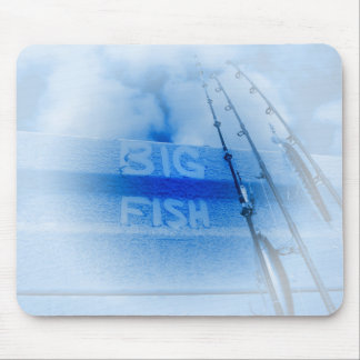 Fishing big fish blue and white rods dream of fish mouse pad