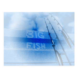 Fishing big fish blue and white rods dream of fish postcard