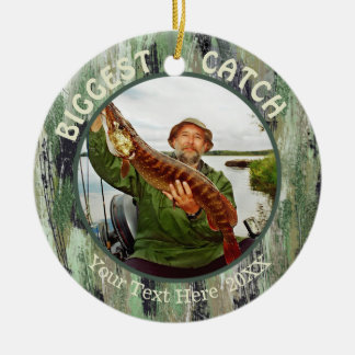 Fishing BIGGEST CATCH, Two Photo Ceramic Ornament