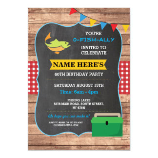 Fishing Birthday Party Rustic Wood Fish Red Invite