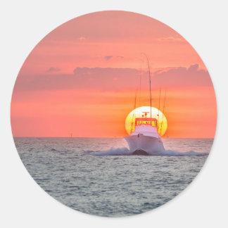Fishing Boat at Sunrise Classic Round Sticker