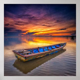 Fishing Boat At Sunrise | Jubakar Beach Poster