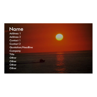 Fishing boat before sunrise business cards
