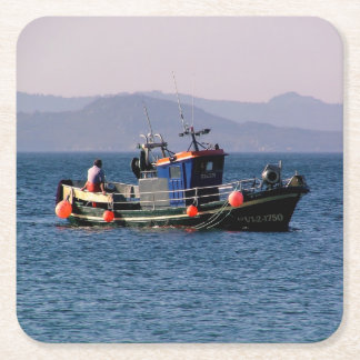 Fishing boat from return to port square paper coaster