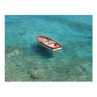 Fishing boat in clear, colorful water, Mani Postcard