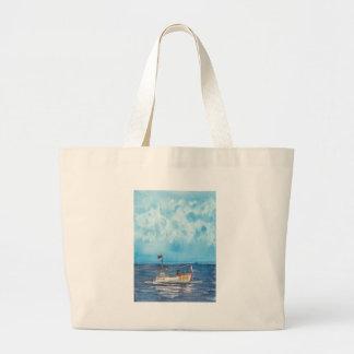 Fishing Boat Large Tote Bag