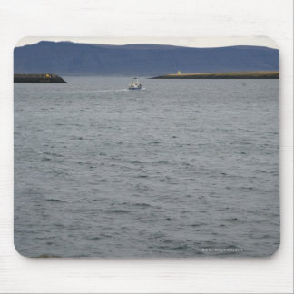 Fishing boat leaving harbour, Reykjavik, Iceland Mouse Pad