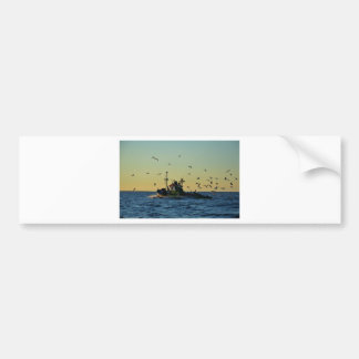 Fishing Boat Mobbed By Gulls Bumper Stickers