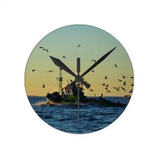 Fishing Boat Mobbed By Gulls Clocks