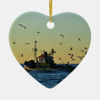 Fishing Boat Mobbed By Gulls Ornaments