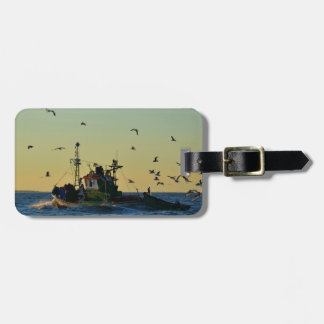 Fishing Boat Mobbed By Gulls Luggage Tags