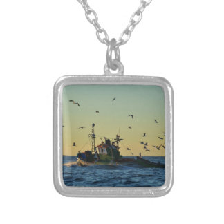 Fishing Boat Mobbed By Gulls Custom Necklace