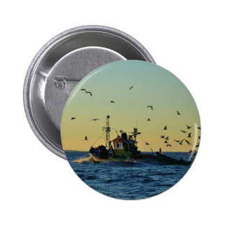 Fishing Boat Mobbed By Gulls Pinback Buttons