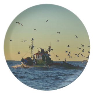 Fishing Boat Mobbed By Gulls Dinner Plate