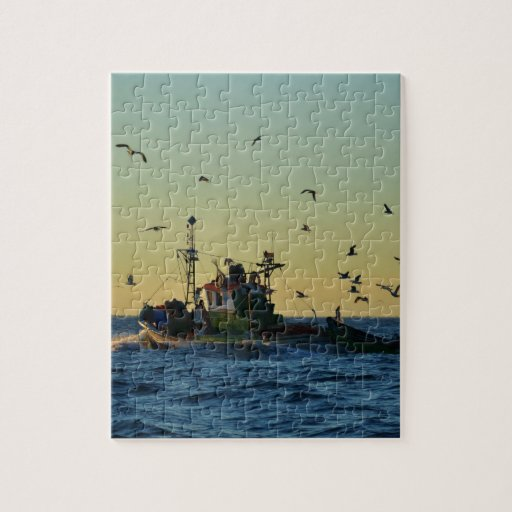 Fishing Boat Mobbed By Gulls Puzzles