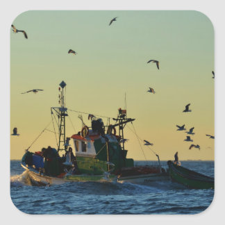 Fishing Boat Mobbed By Gulls Square Stickers