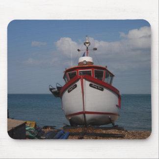 Fishing Boat Morning Haze Mouse Pads